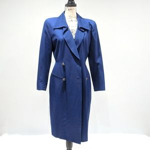 Tahari Blue Long Dress Coat 100% Pure Wool